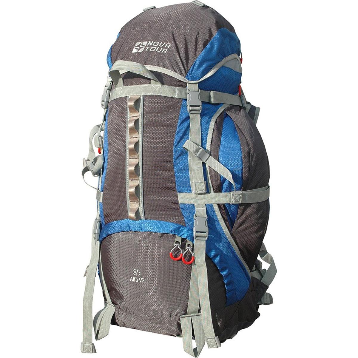 Рюкзак Nova Tour Альфа 85 V2, цвет: серый, синий. 95312-463-0095312-463-00Если вам нравится прыгать с камня на камень или двигаться по узкой горной тропе - этот рюкзак с усиленны-ми стропами специально для вас. Ваша спина будет благодарна за правильно распределяющую вес на плечи и пояс и уменьшающую нагрузку на позвоночник подвесную систему. Теперь доступ к нужным в дневном переходе вещам стал проще благодаря двум вместительным боковым карманам. Если их мало, то на дне рюкзака имеется удобное крепление для габаритных вещей (палатки). Для большего удобства крепления горного инвентаря разработана новая система навески. Если нужно что-то достать со дна рюкзака воспользуйтесь удобным нижним входом. В горах погода переменчива, может внезапно пойти дождь, но вещи всегда будут оставаться сухими, с идущим в комплекте гермочехлом в потайном кармане, на дне рюкзака. На концах боковых стяжек имеются липучки для закрепления излишков стропы.Особенности:Подвеска: ABS V2;Ткань: Poly Oxford 600D PU RipStop;Защитный чехол;Узлы крепления горного снаряжения;Грудная стяжка;Фурнитура Nifco;Светоотражающий кант;Закрепка;Объем: 85 литров.