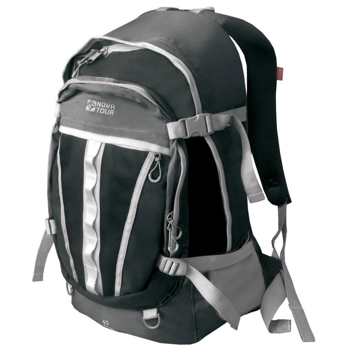 Рюкзак городской Nova Tour Слалом 40 V2, цвет: серый, черный. 13523-956-00MABLSEH10001Если все, что нужно ежедневно носить с собой, не помещается в обычный рюкзак, то Слалом 40 V2 специально для вас. Два вместительных отделения можно уменьшить боковыми стяжками или наоборот, если что-то не поместилось внутри, навесить снаружи на узлы крепления. Для удобства переноски тяжелого груза на спинке предусмотрена удобная система подушек Air Mesh с полностью отстегивающимся поясным ремнем.Особенности:Прочная ткань с непромокаемой пропиткой.Сетчатый материал, отводящий влагу от вашего тела. Применяется на лямках, спинках и поясе рюкзака.Грудная стяжка для правильной фиксации лямок рюкзака и предотвращения их соскальзывания.Органайзер позволяет рационально разместить мелкие вещи внутри рюкзака.Объем: 40 л.
