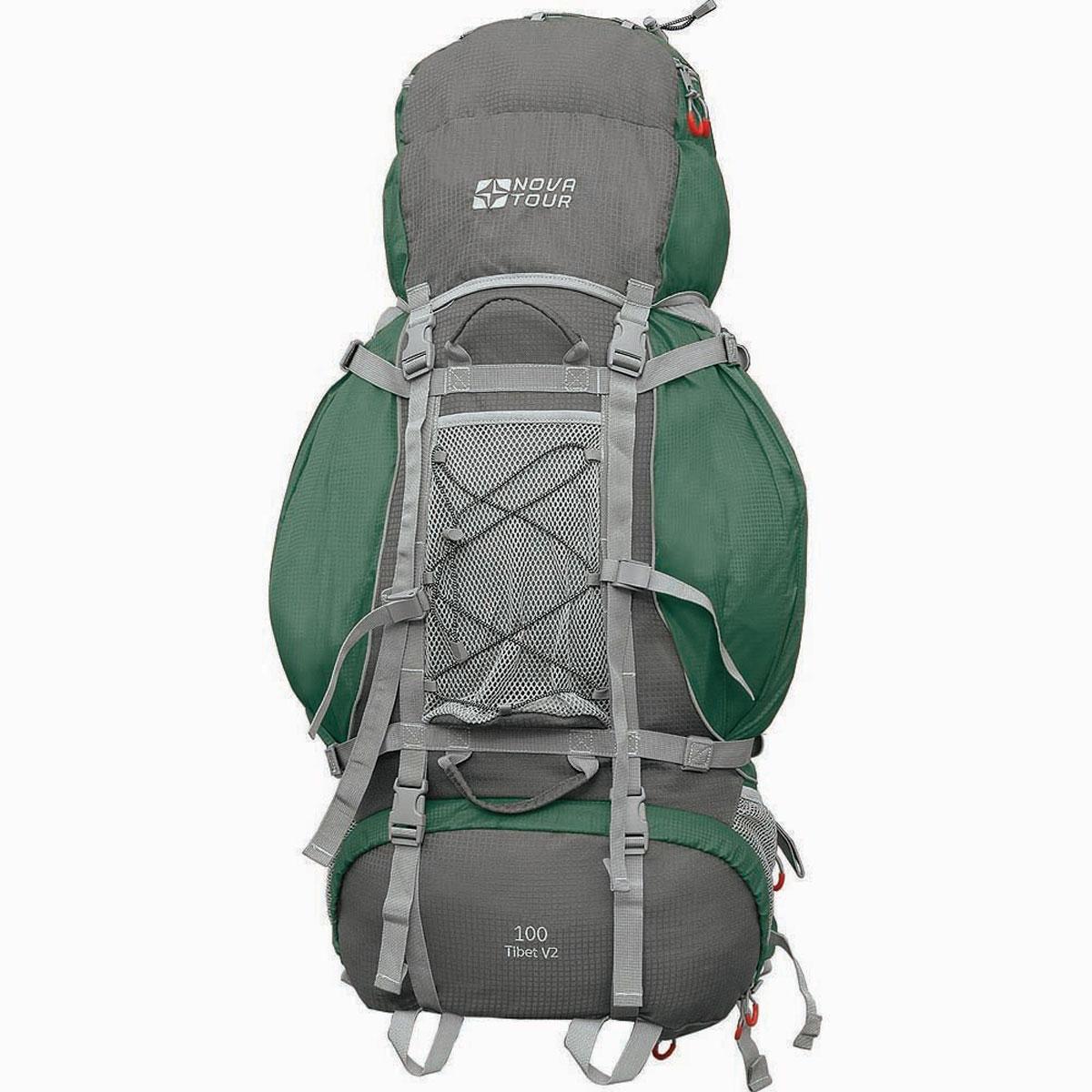 Рюкзак туристический Nova Tour Тибет 100 V2, цвет: серый, зеленый. 11193-350-0011193-350-00Прочный рюкзак большого объема для классического туризма. Вы можете не ограничивать себя в количестве вещей, ведь этот рюкзак с двумя вместительными карманами на молнии, сетчатыми карманами для фляги и мелочей по обеим бокам рюкзака, а также объемным клапаном. Ваша спина не устанет во время длительных переходов с удобной подвесной системой, разработанной специально для переноски тяжелых грузов. Удобство при погрузке рюкзака в транспорт обеспечивают три усиленных ручки. Если в пути застанет дождь или снег не беда! В специальном кармане на дне рюкзака упакован непромокаемый гермочехол. На концах боковых стяжек имеются липучки для закрепления излишков стропы.Особенности:Прочная ткань с непромокаемой пропиткой.Сетчатый материал, отводящий влагу от вашего тела. Применяется на лямках, спинках и поясе рюкзака.Светоотражающий кант - для обеспечения безопасности в темное время суток.Съемный чехол для защиты от влаги и грязи, размещенный в специальном кармане рюкзака.Грудная стяжка для правильной фиксации лямок рюкзака и предотвращения их соскальзывания.Молния специальной конструкции для защиты от попадания влаги.Надежная и удобная фиксация вашего снаряжения снаружи рюкзака.Подвеска: ABS 1.Ткань: Poly Oxford Ripstop.Объем: 100 л.