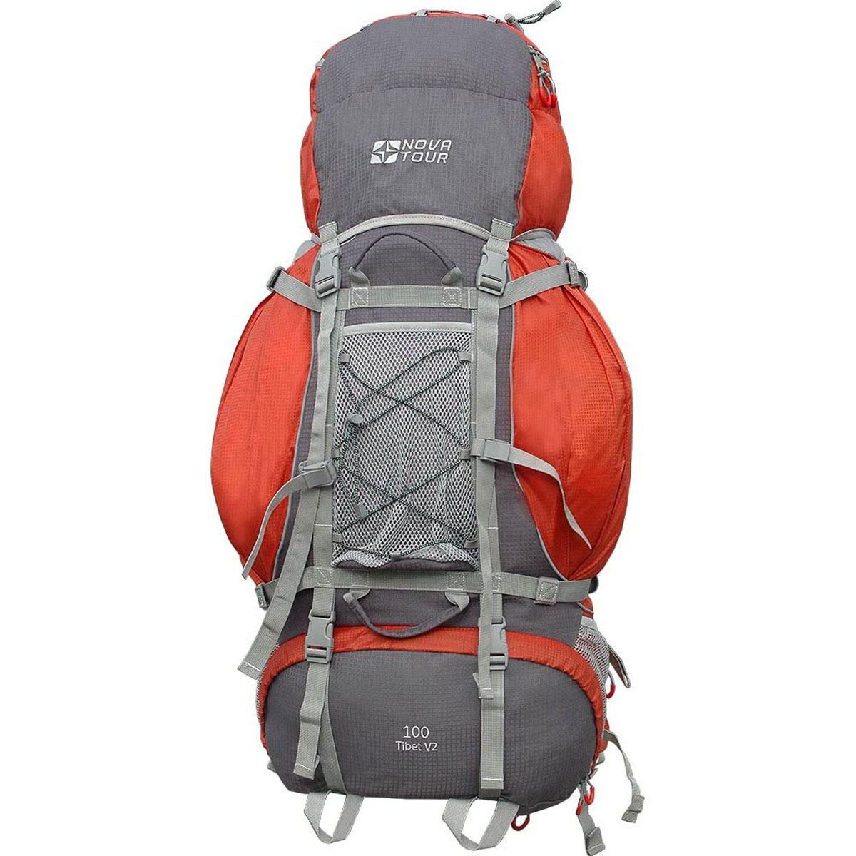 Рюкзак туристический Nova Tour Тибет 100 V2, цвет: серый, терракотовый. 11193-258-0011193-258-00Прочный рюкзак большого объема для классического туризма. Вы можете не ограничивать себя в количестве вещей, ведь этот рюкзак с двумя вместительными карманами на молнии, сетчатыми карманами для фляги и мелочей по обеим бокам рюкзака, а также объемным клапаном. Ваша спина не устанет во время длительных переходов с удобной подвесной системой, разработанной специально для переноски тяжелых грузов. Удобство при погрузке рюкзака в транспорт обеспечивают три усиленных ручки. Если в пути застанет дождь или снег не беда! В специальном кармане на дне рюкзака упакован непромокаемый гермочехол. На концах боковых стяжек имеются липучки для закрепления излишков стропы.Особенности:Прочная ткань с непромокаемой пропиткой.Сетчатый материал, отводящий влагу от вашего тела. Применяется на лямках, спинках и поясе рюкзака.Светоотражающий кант - для обеспечения безопасности в темное время суток.Съемный чехол для защиты от влаги и грязи, размещенный в специальном кармане рюкзака.Грудная стяжка для правильной фиксации лямок рюкзака и предотвращения их соскальзывания.Молния специальной конструкции для защиты от попадания влаги.Надежная и удобная фиксация вашего снаряжения снаружи рюкзака.Подвеска: ABS 1.Ткань: Poly Oxford Ripstop.Объем: 100 л.