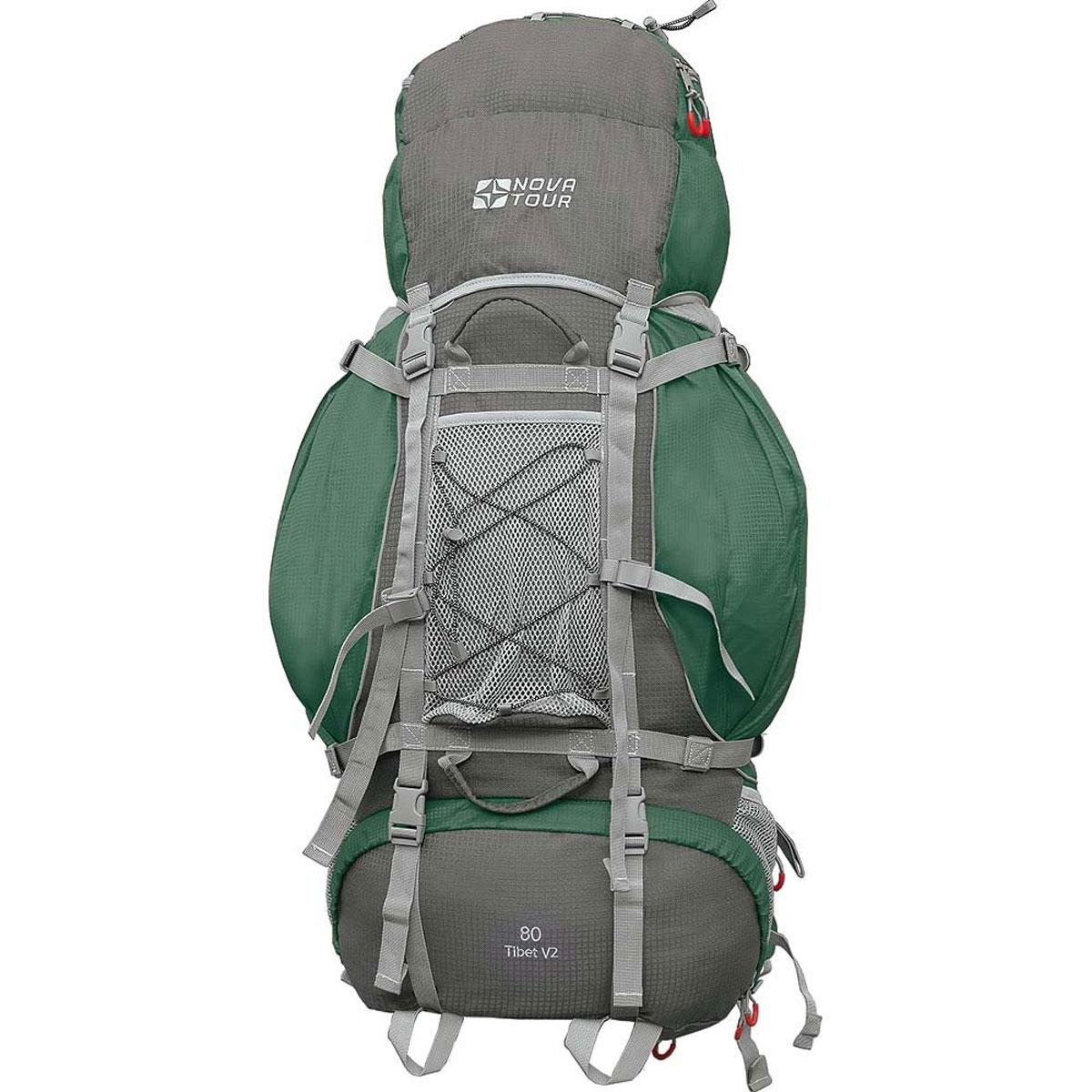 Рюкзак туристический Nova Tour Тибет 80 V2, цвет: серый, зеленый. 11183-350-0011183-350-00Прочный рюкзак большого объема для классического туризма. Вы можете не ограничивать себя в количестве вещей, ведь этот рюкзак с двумя вместительными карманами на молнии, сетчатыми карманами для фляги и мелочей по обеим бокам рюкзака, а также объемным клапаном. Ваша спина не устанет во время длительных переходов с удобной подвесной системой, разработанной специально для переноски тяжелых грузов. Удобство при погрузке рюкзака в транспорт обеспечивают три усиленных ручки. Если в пути застанет дождь или снег не беда! В специальном кармане на дне рюкзака упакован непромокаемый гермочехол. На концах боковых стяжек имеются липучки для закрепления излишков стропы.Особенности:Прочная ткань с непромокаемой пропиткой.Сетчатый материал, отводящий влагу от вашего тела. Применяется на лямках, спинках и поясе рюкзака.Светоотражающий кант - для обеспечения безопасности в темное время суток.Съемный чехол для защиты от влаги и грязи, размещенный в специальном кармане рюкзака.Грудная стяжка для правильной фиксации лямок рюкзака и предотвращения их соскальзывания.Молния специальной конструкции для защиты от попадания влаги.Надежная и удобная фиксация вашего снаряжения снаружи рюкзака.Подвеска: ABS 1.Ткань: Poly Oxford Ripstop.Объем: 80 л.