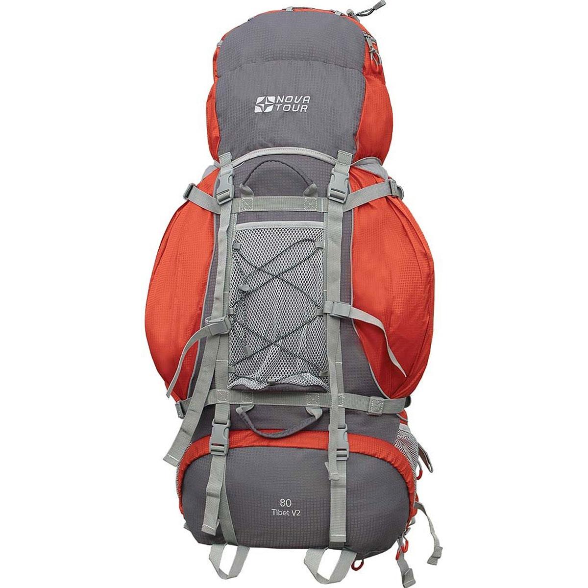 Рюкзак туристический Nova Tour Тибет 80 V2, цвет: серый, терракотовый. 11183-258-0011183-258-00Прочный рюкзак большого объема для классического туризма. Вы можете не ограничивать себя в количестве вещей, ведь этот рюкзак с двумя вместительными карманами на молнии, сетчатыми карманами для фляги и мелочей по обеим бокам рюкзака, а также объемным клапаном. Ваша спина не устанет во время длительных переходов с удобной подвесной системой, разработанной специально для переноски тяжелых грузов. Удобство при погрузке рюкзака в транспорт обеспечивают три усиленных ручки. Если в пути застанет дождь или снег не беда! В специальном кармане на дне рюкзака упакован непромокаемый гермочехол. На концах боковых стяжек имеются липучки для закрепления излишков стропы.Особенности:Прочная ткань с непромокаемой пропиткой.Сетчатый материал, отводящий влагу от вашего тела. Применяется на лямках, спинках и поясе рюкзака.Светоотражающий кант - для обеспечения безопасности в темное время суток.Съемный чехол для защиты от влаги и грязи, размещенный в специальном кармане рюкзака.Грудная стяжка для правильной фиксации лямок рюкзака и предотвращения их соскальзывания.Молния специальной конструкции для защиты от попадания влаги.Надежная и удобная фиксация вашего снаряжения снаружи рюкзака.Подвеска: ABS 1.Ткань: Poly Oxford Ripstop.Объем: 80 л.