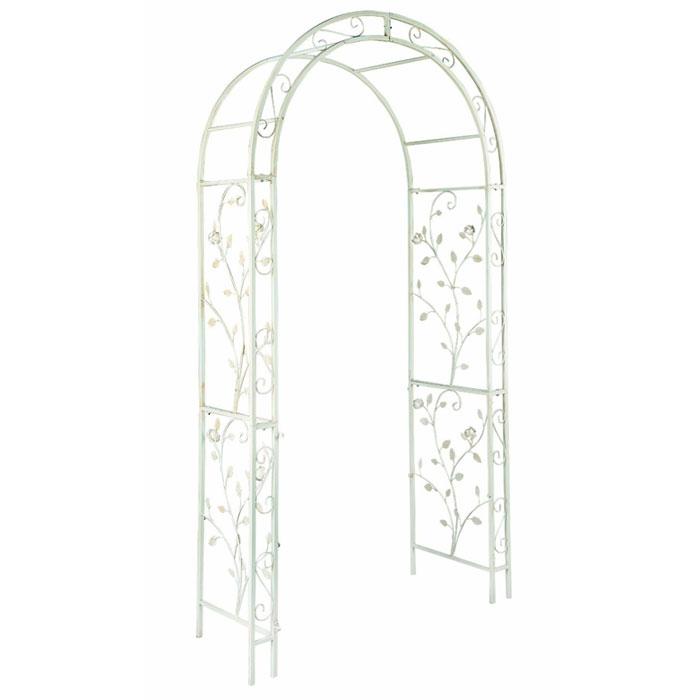 """Арка садовая English rose, цвет: белый, 120 х 37 х 230 cм435034Садовая арка """"English rose"""" выполненна из металла с покрытием белого цвета. Боковые панели оформлены декоративными элементами.Прочная конструкция и элегантный дизайн.Садовая арка может использоваться как вход в сад, в сочетании с цветами вьющимися по арке и садовой дорожкой начинающейся сразу за аркой. Первое впечатление при входе в такой сад станет незабываемым."""