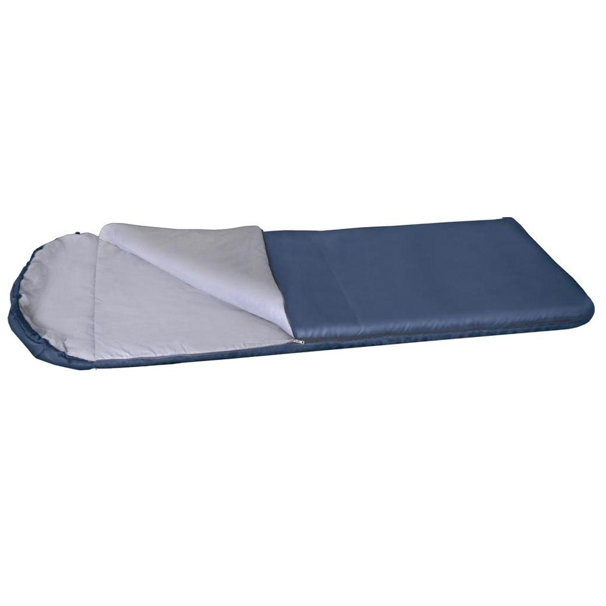 Спальный мешок-одеяло Alaska Одеяло с подголовником +10 °С, цвет: синий, левосторонняя молния. 95253-405-0095253-405-00Недорогой спальный мешокAlaska Одеяло с подголовником +10 займет очень немного места в багажнике вашего авто, выручит на даче, в летнем походе выходного дня и в городской квартире в качестве дополнительного утепляющего слоя во время ожидания начала отопительного сезона. Простой и максимально практичный спальникAlaska Одеяло с подголовником +10 имеет аномально низкую стоимость! Даже трудно представить себе качественный спальный мешок дешевле! Однако спальник Одеяло с подголовником +10 обладает всеми необходимыми свойствами для обеспечения комфортного отдыха в теплое время года - это облегченный вес, разъемная молния, что позволяет соединять два однотипных спальника вместе и удобный подголовник, который с помощью встроенного шнура легко превращаются в теплый капюшон. Благодаря простоте конструкции, спальные мешки легко превращаются в двух спальные одеяла, которые можно использовать не только на природе, но и на даче.Утеплитель: Термофайбер.Ткань верха: Политафета 170Т.Внутренняя ткань: Политафета 170Т. При состегивании двух мешков подголовники будут по диагонали.