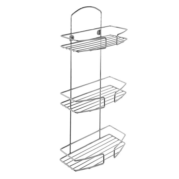Полка Milardo 3-ярусная, прямая. 013W030M4412723Стойкость к коррозии и идеальный зеркальный блеск изделий благодаря многослойному медь-никель-хромовому покрытию. Крепежные крючки в комплекте: 1. Надежная фиксация 2. Легкий демонтаж полки, например для уборки3. Фиксация аксессуара в любом месте - свобода выбора места на стене для монтажных отверстийСпециальные полусферы из прочного пластика способствуют тому, чтобы медь-никель-хромовое покрытие контуров полки не касалось поверхности стены, а шероховатая поверхность полусфер предохраняет полку от горизонтального перемещения.Материал: Стальная проволока, d=4.9/3.9/2.4 мм