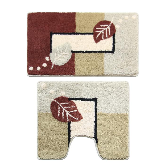 Набор ковриков для ванной комнаты Milardo Late Autumn, 2 штRG-D31SНабор Milardo Late Autumn включает два коврика для ванной комнаты: прямоугольный и с вырезом. Коврики изготовлены из полиэстера и акрила. Это экологически чистый, быстросохнущий, мягкий и износостойкий материал. Изделия оформлены изображением листьев; красители устойчивы, поэтому рисунок не потеряет цвет даже после многократных стирок в стиральной машине. Благодаря латексной основе коврики не скользят на полу. Края изделий обработаны оверлоком. Можно использовать на полу с подогревом. Рекомендации по уходу:- Разрешена стирка в стиральной машине при температуре 40°С при щадящем режиме отжима.- Нельзя гладить. - Нельзя отбеливать. - Химчистка запрещена.