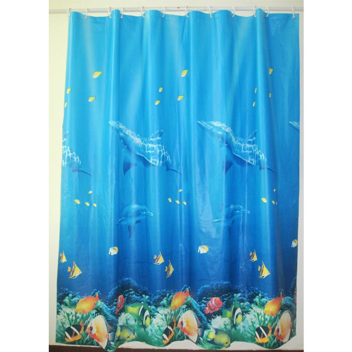 Штора для ванной комнаты Milardo Ocean Floor, 180 см х 180 см. 520V180M11SWRD-9008Штора для ванной комнаты Milardo, изготовлена из PEVA - водонепроницаемого, прочного эластичного материала, без запаха. Штора декорирована изображением морского дна с рыбками и дельфинами. Штора быстро сохнет, легко моется (протирать мягкой тканью, смоченной в мыльном растворе) и обладает повышенной износостойкостью, устойчивым красителям и эластичным свойствам. Вверху предусмотрены металлические люверсы. В комплекте также имеется 12 пластиковых колец. Штора для ванной Milardo порадует вас своим ярким дизайном и добавит уюта в ванную комнату.Нельзя стирать в стиральной машинке. Нельзя гладить.