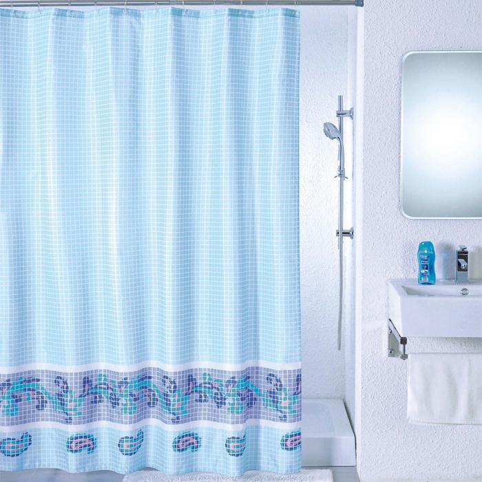 Штора для ванной комнаты Milardo Blue Fresco, 180 см х 200 см. SCMI011PRG-D31SШтора для ванной комнаты Milardo, изготовлена из полиэстера с водоотталкивающей пропиткой, декорирована изображением фрески с витиеватым узором. Штора быстро сохнет, легко моется (разрешена деликатная стирка в стиральной машине при температуре 30°С без отжима) и обладает повышенной износостойкостью, благодаря двойной обработке краев и устойчивым красителям. Вверху предусмотрены металлические люверсы. В комплекте также имеется 12 пластиковых колец. Штора для ванной Milardo порадует вас своим ярким дизайном и добавит уюта в ванную комнату.