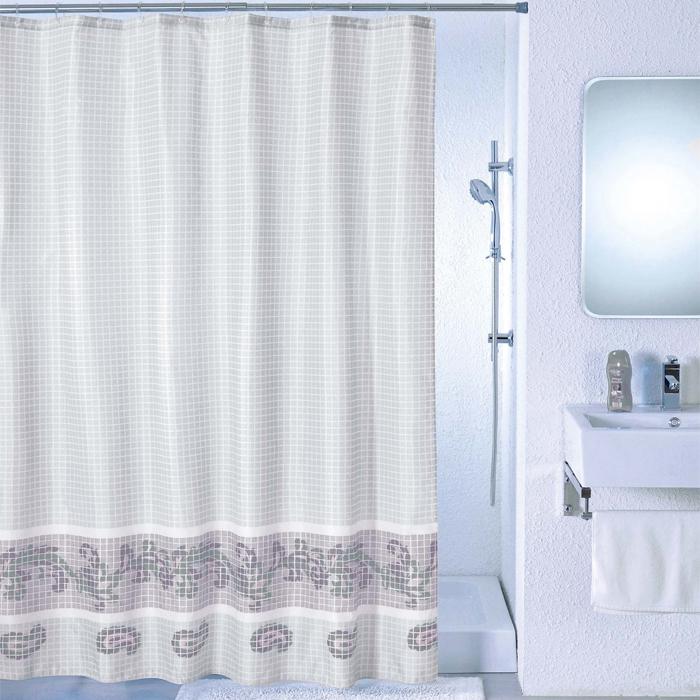 Штора для ванной комнаты Milardo Grey Fresco, 180 х 200 см SCMI012P391602Штора для ванной комнаты Milardo, изготовлена из полиэстера с водоотталкивающей пропиткой, декорирована изображением фрески с витиеватым узором. Штора быстро сохнет, легко моется (разрешена деликатная стирка в стиральной машине при температуре 30°С без отжима) и обладает повышенной износостойкостью, благодаря двойной обработке краев и устойчивым красителям. Вверху предусмотрены металлические люверсы. В комплекте также имеется 12 пластиковых колец. Штора для ванной Milardo порадует вас своим ярким дизайном и добавит уюта в ванную комнату.