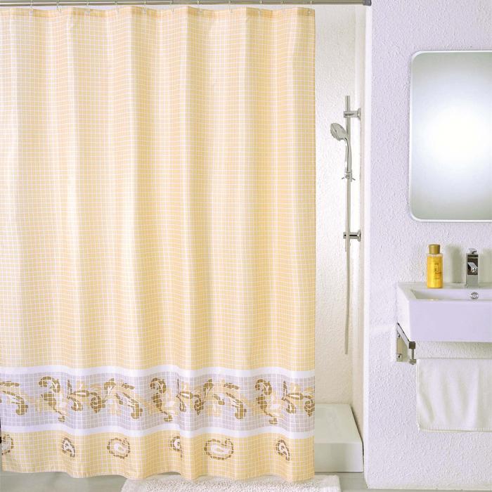 Штора для ванной комнаты Milardo Beige Fresco, 180 см х 200 см. SCMI013P68/5/3Штора для ванной комнаты Milardo, изготовлена из полиэстера с водоотталкивающей пропиткой, декорирована изображением фрески с витиеватым узором. Штора быстро сохнет, легко моется (разрешена деликатная стирка в стиральной машине при температуре 30°С без отжима) и обладает повышенной износостойкостью, благодаря двойной обработке краев и устойчивым красителям. Вверху предусмотрены металлические люверсы. В комплекте также имеется 12 пластиковых колец. Штора для ванной Milardo порадует вас своим ярким дизайном и добавит уюта в ванную комнату.