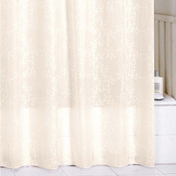 Штора для ванной комнаты Milardo Biege Leaf, 180 см х 200 см. SCMI082P1092019Штора для ванной комнаты Milardo, изготовлена из полиэстера с водоотталкивающей пропиткой, декорирована витиеватым рисунком. Штора быстро сохнет, легко моется (разрешена деликатная стирка в стиральной машине при температуре 30°С без отжима) и обладает повышенной износостойкостью, благодаря двойной обработке краев и устойчивым красителям. Вверху предусмотрены металлические люверсы. В комплекте также имеется 12 пластиковых колец. Штора для ванной Milardo порадует вас своим ярким дизайном и добавит уюта в ванную комнату.