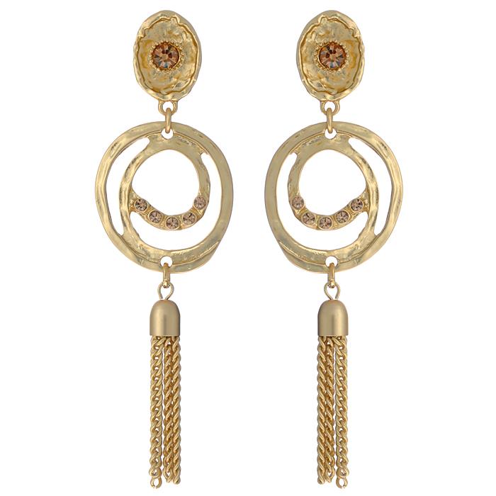 Серьги Fashion Jewelry, цвет: золотистый. AL7321845100032/35449/3537AОригинальные серьги Fashion Jewelry, выполненные из металла золотистого цвета с подвеской, украшены стразами из стекла. Такие серьги помогут создать вам свой неповторимый стиль. Серьги-подвески застегиваются на пластиковую застежку-гвоздик. Серьги Fashion Jewelry позволят вам с легкостью воплотить самую смелую фантазию и создать собственный, неповторимый образ.