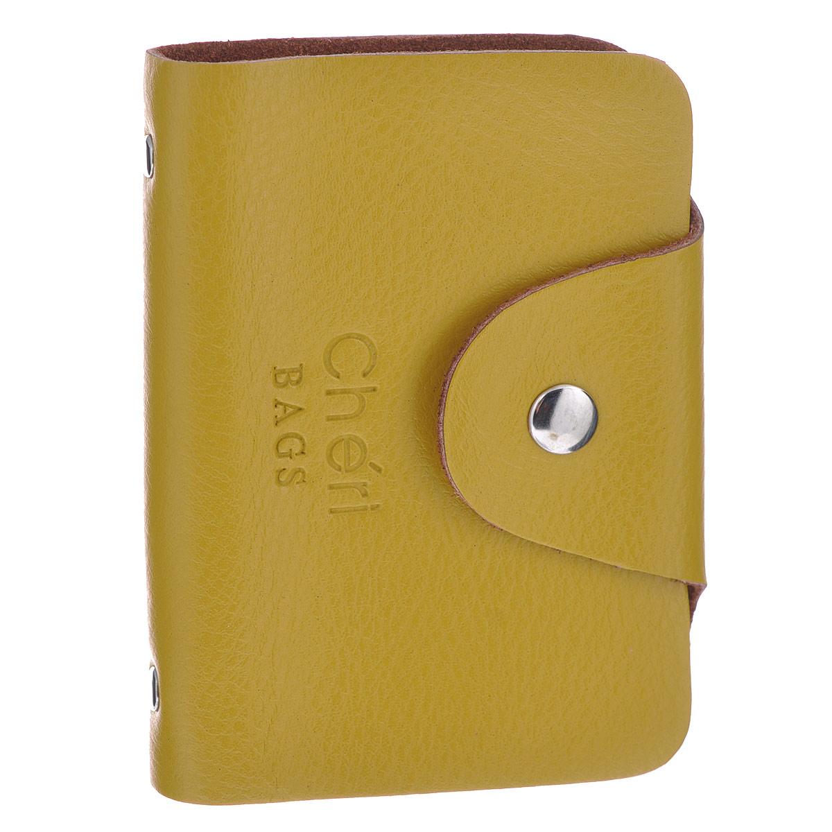 Визитница Cheribags, цвет: желтый. V-0489-13W16-11128_323Элегантная визитница Cheribags - стильная вещь для хранения визиток. Визитница выполнена из натуральной кожи, закрывается клапаном на металлическую кнопку. Внутри содержит блок из мягкого пластика, рассчитанный на 26 визиток. Такая визитница станет замечательным подарком человеку, ценящему качественные и практичные вещи.