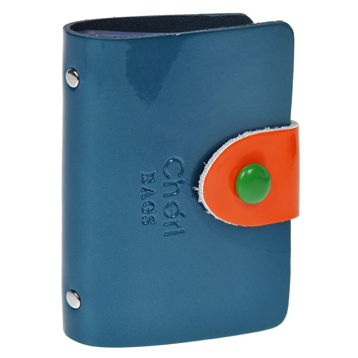 Визитница Cheribags, цвет: синий, оранжевый. V-0499-15B16-11416Элегантная визитница Cheribags - стильная вещь для хранения визиток. Визитница выполнена из натуральной лаковой кожи, закрывается с помощью хлястика на металлическую кнопку. Внутри содержит блок из мягкого пластика, рассчитанный на 26 визиток. Такая визитница станет замечательным подарком человеку, ценящему качественные и практичные вещи.