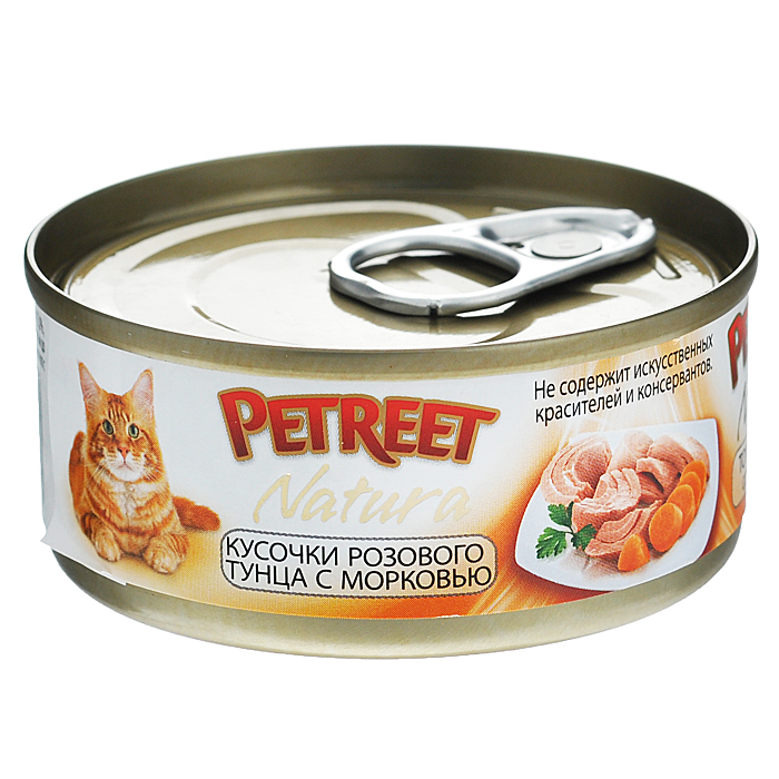Консервы для кошек Petreet Natura, с кусочками розового тунца и морковью, 70 г0120710Полноценный сбалансированный корм для взрослых кошек всех пород. Консервы Petreet в виде нежного паштета изготовлены исключительно из натуральных продуктов и не оставят равнодушным ни одного питомца. В их состав входит до 64% основного компонента - мяса тунца, а это значит, что продукт богат протеином - источником бодрости вашей кошки. Для поддержания здоровья внутренних органов и зрения в состав консервов входит аргинин, таурин и незаменимые жирные кислоты Омега 3 и Омега 6. При умеренной калорийности в корме содержится высокий уровень белка (15%). Уникальный высокоусвояемый полноценный гипоаллергенный рацион с низким показателем зольности (0,5%). Идеально подходит для кастрированных и стерилизованных кошек.Состав: тунец (60%), морковь (4%), рисовая мука (1%), витамины А, D3, Е. Анализ: влажность - 84,0%, белок - 15,0%, клетчатка - 0,3%, жир - 1,6%, зола - 0,5%, витамин А - 666 МЕ/кг, витамин D3 - 50 МЕ/кг, витамин Е - 20 МЕ/кг. Вес 70 г. Товар сертифицирован.