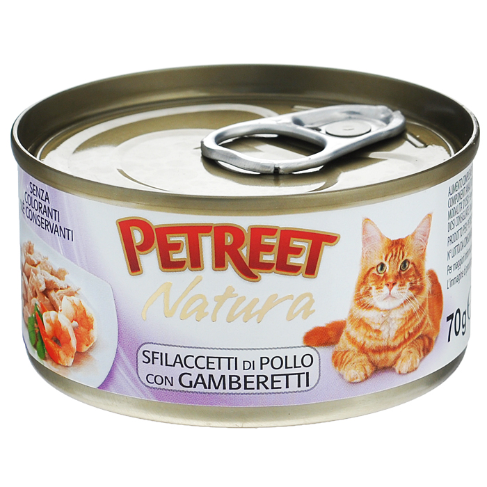 Консервы для кошек Petreet Natura, с куриной грудкой и креветками, 70 гА53516Полноценный сбалансированный корм для взрослых кошек всех пород. Консервы Petreet в виде нежного паштета изготовлены исключительно из натуральных продуктов и не оставят равнодушным ни одного питомца. В их состав входит до 64% основного компонента - мяса тунца, а это значит, что продукт богат протеином - источником бодрости вашей кошки. Для поддержания здоровья внутренних органов и зрения в состав консервов входит аргинин, таурин и незаменимые жирные кислоты Омега 3 и Омега 6. Идеально подходит для кастрированных и стерилизованных кошек.Основу консервов Petreet Natura с куриной грудкой и креветками, составляет парное белое мясо грудки цыпленка с добавлением креветок. При умеренной калорийности в корме содержится высокий уровень белка (19%), витаминов и других незаменимых для кошки веществ. Состав: куриная грудка (мин. 60%), бульон (24,7%), креветки (13,0%), рис (2%), крахмал. Анализ: влажность - 84,0%, белок - 15,0%, клетчатка - 0,3%, жир - 1,6%, зола - 0,5%, витамин А - 666 МЕ/кг, витамин D3 - 50 МЕ/кг, витамин Е - 20 МЕ/кг. Вес 70 г. Товар сертифицирован.