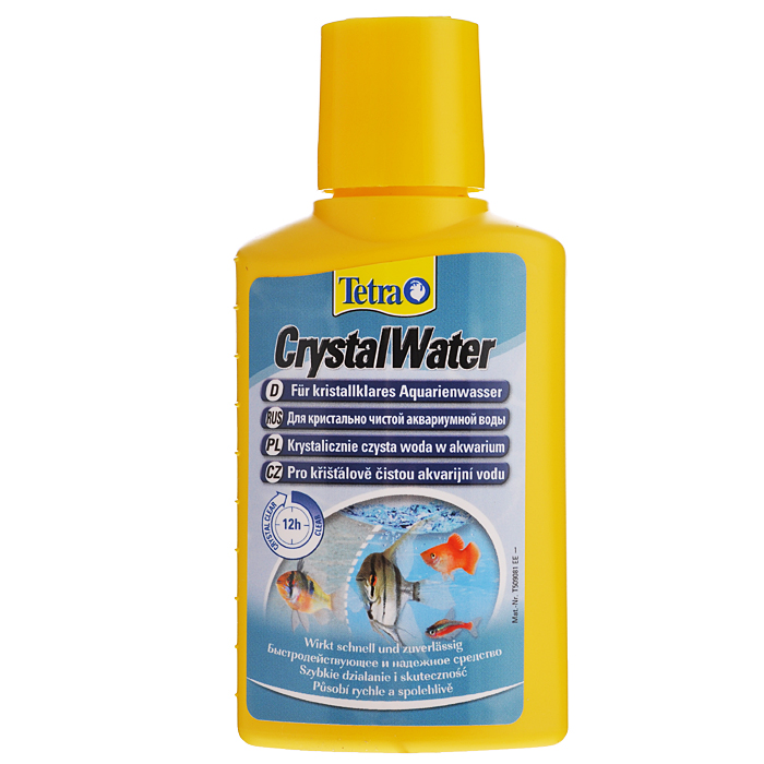 Средство для очистки воды Tetra CrystalWater, от всех видов мути, 100 мл0120710Средство для очистки воды Tetra CrystalWater удаляет частицы грязи из аквариумной воды быстро, безопасно и надежно. Для кристально чистой аквариумной воды. Отобранные минералы удаляют любые виды помутнений; Благодаря бережному способу воздействия средство является абсолютно безвредным для рыб и растений аквариума и быстро делает воду в нем кристально чистой; Действенность продукта можно наблюдать по образованию белого облачка. Оно безопасно и рассеивается через несколько часов; Активные компоненты в Tetra CrystalWater связывают мелкие частицы, объединяя их в большие, которые можно потом отфильтровать из воды с помощью аквариумного фильтра; Для оптимальных результатов необходимо регулярно чистить фильтр. Первые результаты заметны уже через 2-3 часа. В течение 6-12 часов вода становится кристально чистой.Для всех пресноводных аквариумов.Применение.При наличии помутнений добавьте 5 мл средства на 10 л аквариумной воды. Перед повторным применением подождите минимум 48 часов. Между применениями средства Tetra CrystalWater и кондиционера для воды должно пройти 24 часа. Товар сертифицирован.