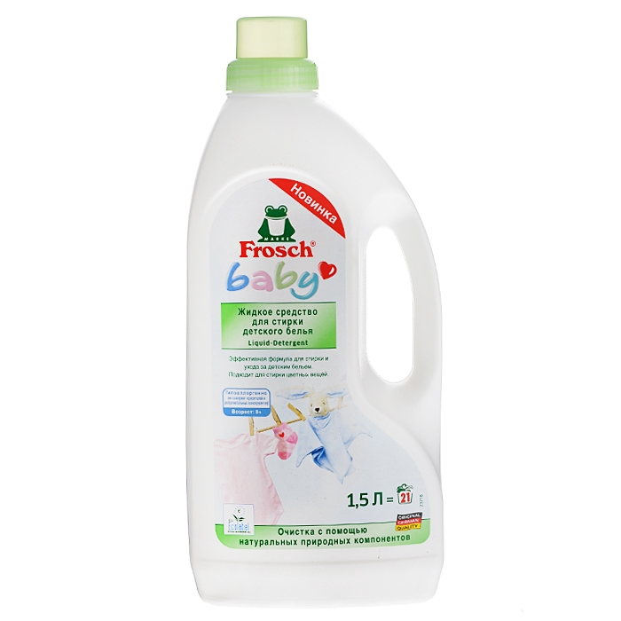 Жидкое средство Frosch для стирки детского белья, 1,5 лGC013/00Благодаря специально подобранным отдушкам риск возникновения кожных раздражений снижен. Гипоаллергенно (не содержит красителей и дополнительных консервантов). Специально разработано для малышей, а также людей с чувствительной кожей, подверженной аллергическим реакциям.