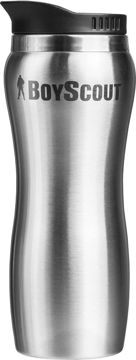 Термостакан Boyscout, цвет: стальной, черный, 450 мл115510Термостакан Boyscout изготовлен из нержавеющей стали и предназначен для заполнения горячими и холодными напитками в путешествии, на даче и на пикнике. Изделие оснащено пластиковой крышкой с подвижным клапаном, открывающим по вашему желанию небольшое отверстие для выливания жидкости. Нельзя использовать термостакан в микроволновой печи и помещать в морозильную камеру. Размер стакана: 9 см х 21,5 см.