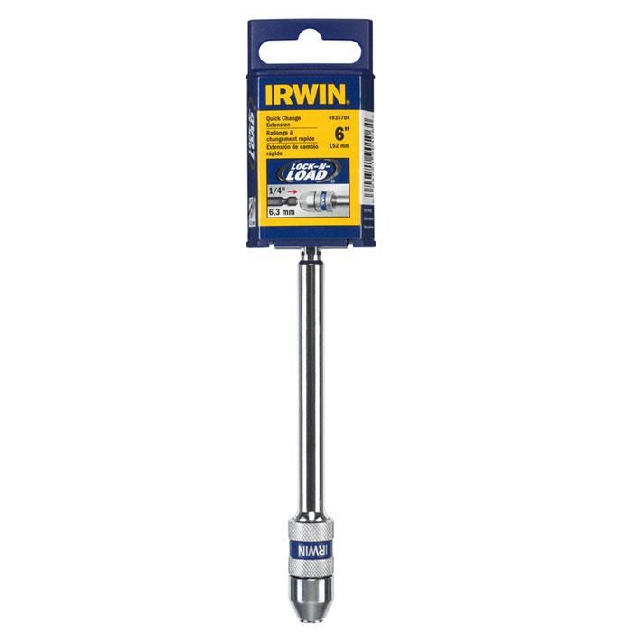 Держатель магнитный для бит и сверл Irwin, 1/4, длина 15 см54 009318Держатель Irwin с системой фиксации Lock-N-Load предназначен для быстрой замены бит и сверл. Позволяет менять оснастку одной рукой.Губки конструкции надежно удерживают сверло с хвостиком и с 6 лысками, а также сверла с шаровым фиксатором.Конструкция, изготовленная из углеродной стали (втулка и корпус), обеспечивает надежность и продлевают срок службы.Удерживают биты Insert.