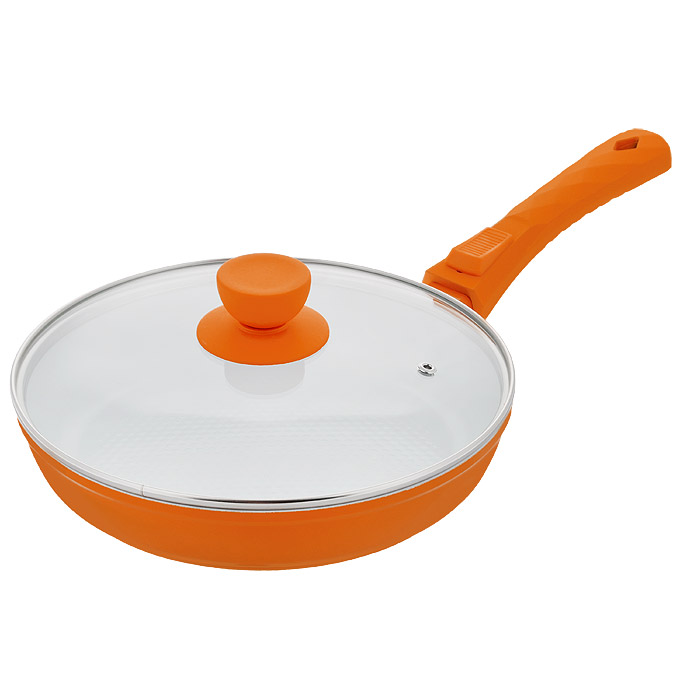 Сковорода Bohmann с крышкой, со съемной ручкой, с керамическим покрытием, цвет: оранжевый. Диаметр 22 см. 7022BH/2WCJWC-124-20DСковорода Bohmann изготовлена из литого алюминия с антипригарным керамическим покрытием. Антипригарное покрытие содержит 5 слоев: - бесцветное огнеупорное покрытие, - жаропрочный базовый слой, - алюминий, - керамический базовый слой, - керамический защитный слой. Внешнее покрытие - жаростойкий лак, который сохраняет цвет долгое время и обладает жироотталкивающими свойствами. Благодаря керамическому покрытию, пища не пригорает и не прилипает к поверхности сковороды, что позволяет готовить с минимальным количеством масла. Кроме того, такое покрытие абсолютно безопасно для здоровья человека, так как не содержит вредной примеси PTFE. Рифленая внутренняя поверхность сковороды в виде сот обеспечивает быстрое и легкое приготовление. Достоинства керамического покрытия: - устойчивость к высоким температурам и резким перепадам температур, - устойчивость к царапающим кухонным принадлежностям и абразивным моющим средствам,- устойчивость к коррозии, - водоотталкивающий эффект, - покрытие способствует испарению воды во время готовки, - длительный срок службы, - безопасность для окружающей среды и человека. Сковорода быстро разогревается, распределяя тепло по всей поверхности, что позволяет готовить в энергосберегающем режиме, значительно сокращая время, проведенное у плиты. Сковорода оснащена съемной ручкой, выполненной из пластика с прорезиненным покрытием. Такая ручка не нагревается в процессе готовки и обеспечивает надежный хват. Крышка изготовлена из жаропрочного стекла, оснащена ручкой, отверстием для выпуска пара и металлическим ободом. Благодаря такой крышке, можно следить за приготовлением пищи без потери тепла. Можно готовить на газовых, электрических, стеклокерамических, галогенных, индукционных плитах. Подходит для чистки в посудомоечной машине.Высота стенки: 4,5 см.Длина ручки: 18 см.Диаметр индукционного диска: 14 см.
