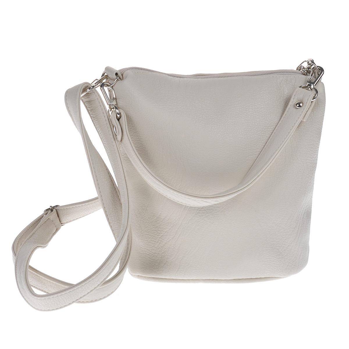 Сумка женская Antan, цвет: светло-бежевый. 9-633 В23008Женская сумка Antan выполнена из искусственной кожи. Сумка состоит из одного отделения, закрывающегося на застежку-молнию. Внутри вшитый карман на молнии. Дополнительно сбоку имеется карман также на застежке-молнии. Сумка имеет два съемных ремешка разной длины. Сумка - это стильный аксессуар, который подчеркнет вашу изысканность и индивидуальность и сделает ваш образ завершенным. Размер сумки: 23 см х 21 см х 10 см.
