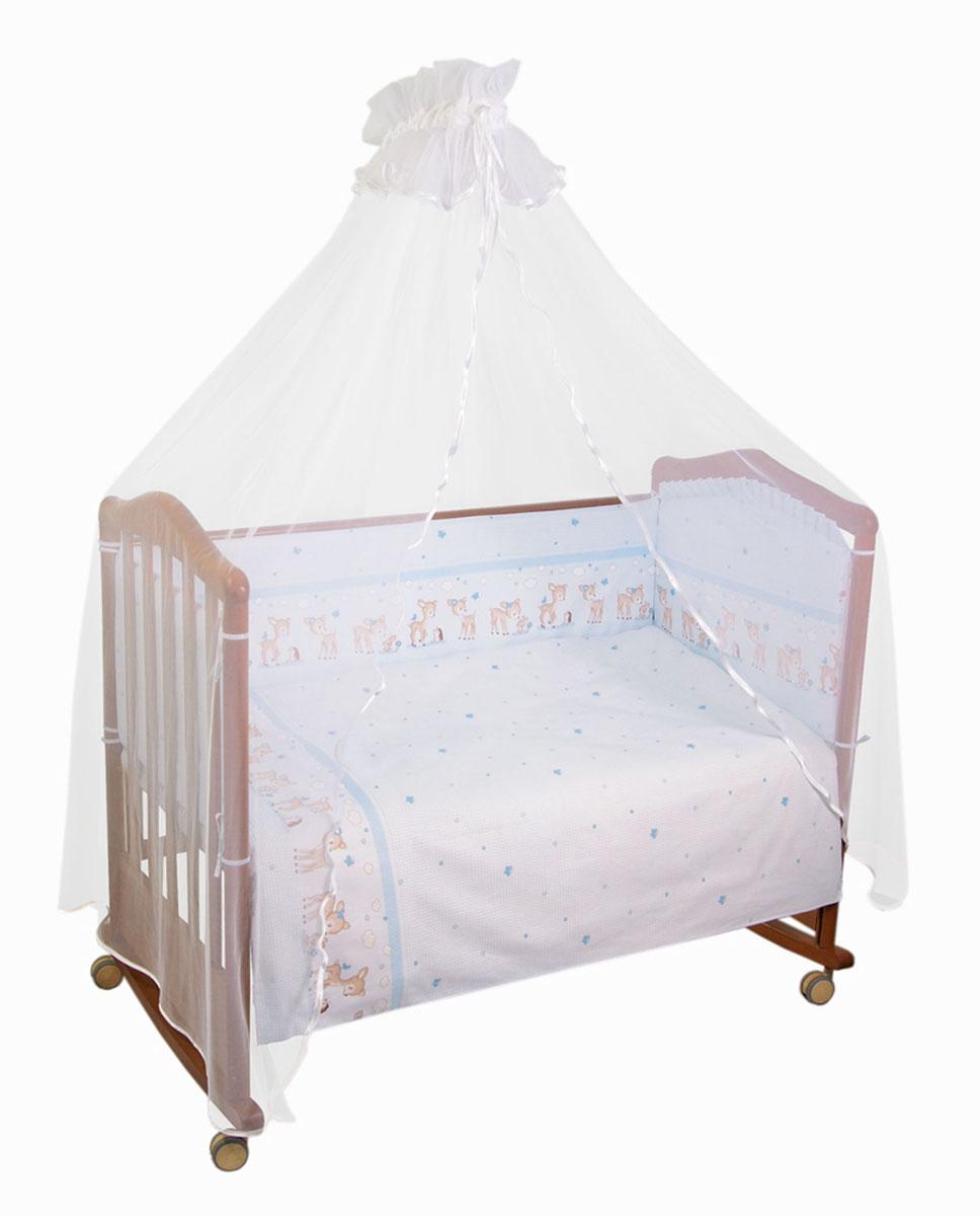 Комплект в кроватку Тайна снов Оленята, цвет: голубой, 7 предметов727/1Комплект в кроватку Тайна снов Оленята прекрасно подойдет для кроватки вашего малыша, добавит комнате уюта и согреет в прохладные дни.В качестве материала верха использован натуральный хлопок, мягкая ткань не раздражает чувствительную и нежную кожу ребенка и хорошо вентилируется.Бампер, подушка и одеяло наполнены синтепоном. Элементы комплекта оформлены изображениями симпатичных оленят. Комплект состоит из: бампера с чехлами на застежке-молнии,балдахина с сеткой,подушки,одеяла,пододеяльника,наволочки,простыни.Для производства изделий Тайна снов используются только высококачественные ткани ведущих мировых производителей. Благодаря особым технологиям сбора и переработки хлопка сохраняется естественная природная структура волокна.