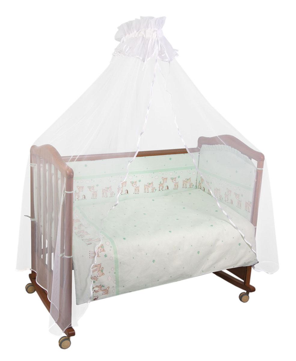 """Бампер в кроватку Тайна снов """"Оленята"""" состоит из четырех частей и закрывает весь периметр кроватки. Он крепится к кроватке с помощью специальных завязок, благодаря чему его можно поместить в любую детскую кроватку. Бампер выполнен из бязи - натурального хлопка безупречной выделки. Деликатные швы рассчитаны на прикосновение к нежной коже ребенка. Бампер оформлен изображениями очаровательных оленят. Наполнителем служит холлкон - экологически безопасный и гипоаллергенный материал. Чехол застегивается на пластиковую застежку-молнию и легко снимается для стирки. Бампер защитит ребенка от возможных ударов о деревянные или металлические части кроватки. Бортик подходит для кроватки размером 120 см х 60 см. Высота бортика 40 см."""