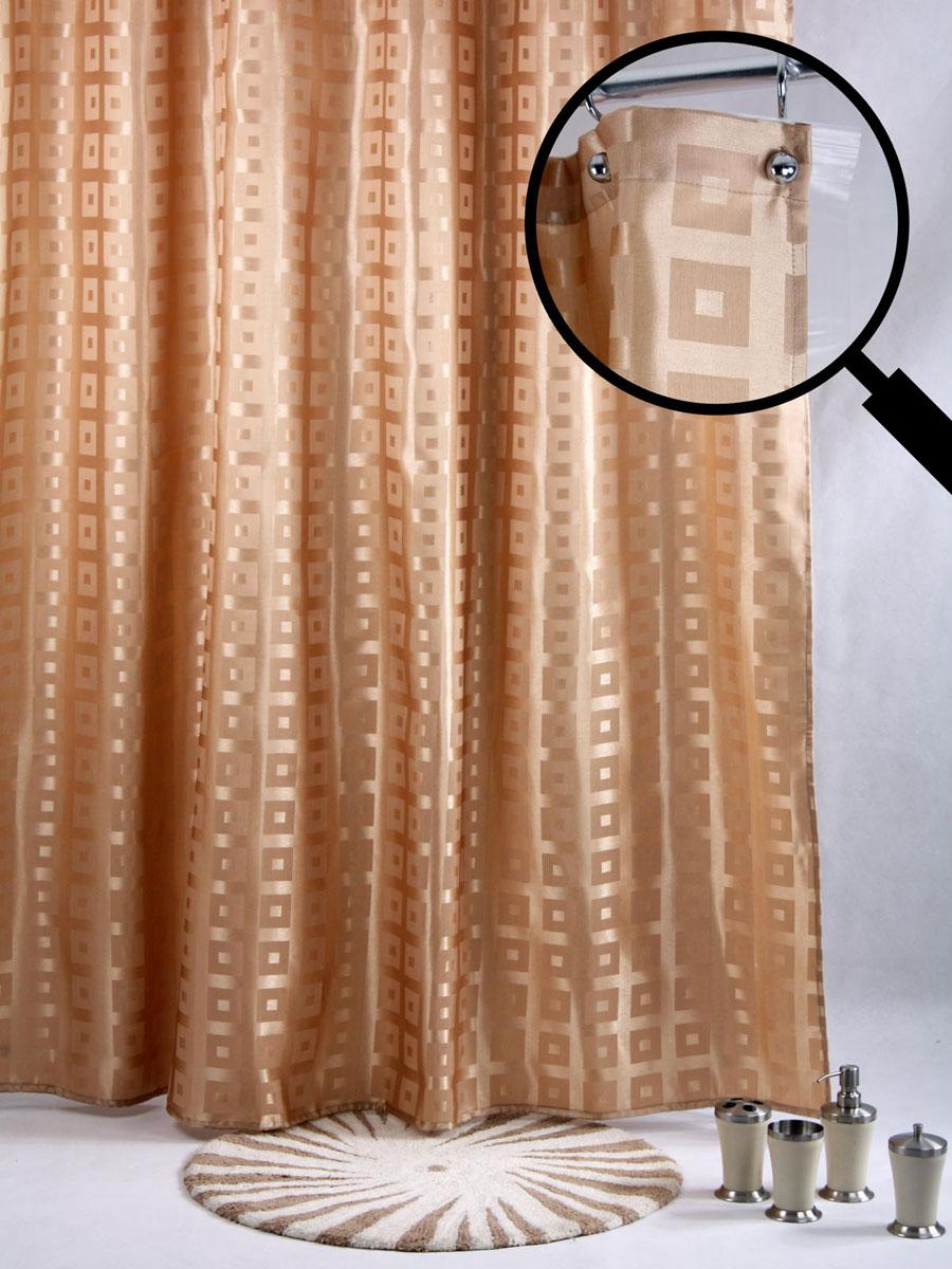 Штора для ванной White Fox Квадраты, с крючками, цвет: золотистый, 180 см х 200 см68/5/3Штора для ванной White Fox Квадраты изготовлена из полиэстера с водоотталкивающей и антибактериальной пропиткой. В нижний край шторы вшит неметаллический утяжелитель змейка. Он не ржавеет, обладает большой гибкостью и не теряет своих свойств после стирки. Рисунок нанесен по специальной водозащитной технологии, позволяющей максимально долго сохранять первоначальные цвета. В комплект входит 12 крючков из нержавеющей стали. Крючки не требуют особого ухода, удобны для быстрого навешивания и снятия шторы с карниза. Штора и крючки составляют единую композицию, которая гармонично вписывается в интерьер ванной комнаты. Рекомендации по уходу: Штора удобна и проста в уходе. Ее можно стирать при температуре до 30°C и гладить при температуре до 110°C.