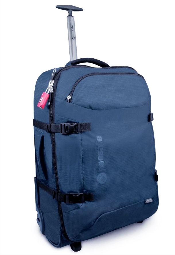 Сумка PacSafe на колесах Toursafe 25, цвет: синий, 60 л1092238Удобный и просторный чемодан с прочным тканым корпусом – прекрасный выбор для путешествий – как с остановкой в одном месте, так и транзитом через несколько пунктов назначения. Чемодан раскладывается как книга и закрывается на застежку-молнию, что обеспечивает быстрый и удобный доступ к сложенной в нем одежде. Технология eXomesh стоит на страже сохранности вашего имущества, надежно защищая его от не всегда аккуратных (и, к тому же, не всегда добросовестных) операторов по обработке багажа.Особенности:Передний карман на молнии, в который может свободно поместиться журнал или ноутбук 15,4, с двумя внутренними накладными карманами и 1 карманом-сеткой.Основное отделение с карманом-сеткой на молнии для оптимального удобства размещения вещей.Бегунки особого дизайна с возможностью установки блокировочных замков TSA (имеет личинку под специальный универсальный ключ, который находится «на вооружении» таможни и службы безопасности).Легкая и прочная формованная спинка.Эргономичная выдвижная ручка из алюминиевого трубчатого профиля, фиксирующаяся в сложенном состоянии.Установленные по бокам колеса, обеспечивающие перемещение чемодана безо всяких усилий.Мягкие ручки для ручной переноски багажа, сверху и по бокам.Боковые стяжки, облегчающие укладку багажа.Навесной замок продается отдельно.Материалы: нейлон 420D, полиуретановая пропитка PU1000 мм.