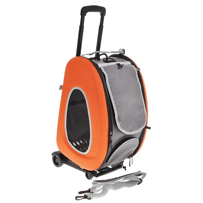Cумка-тележка для собак 3в1 Ibiyaya, до 8 кг, цвет: оранжевый, 34 см х 30 см х 58 см0120710Невероятно удобный дизайн и стиль сумки тележки Ibiyaya 3 в 1 для собак до 8 кг поможет в путешествиях и прогулках вам и вашему питомцу. Многофункциональная, из прочного плотного материала, легко складывается и раскладывается, имеет объемный карман на молнии и вход на молнии с сетчатым окошком, закрывающийся накладкой на липучке, боковые стороны также имеют сетчатые окошки и овальные отверстия все это сумка-тележка. В сложенном виде это компактный кейс который занимает минимум места.Сумку можно использовать как рюкзак, как сумку через плечо и пристегивать как авто-кресло в автомобиле. Внутри имеется ремешок пристегивающийся к ошейнику, мягкая подстилка на липучках которую можно поменять на разовую пеленку. Дизайн сумки разработан с учетом последних модных тенденций и выгодно выделяет модель среди аналогичных товаров. Можно выбрать цвет: синий, оранжевый, лайм. В комплекте - инструкция с картинками по сборке сумки на русском языке.Полный размер: 58 см х 30 см х 34 см.