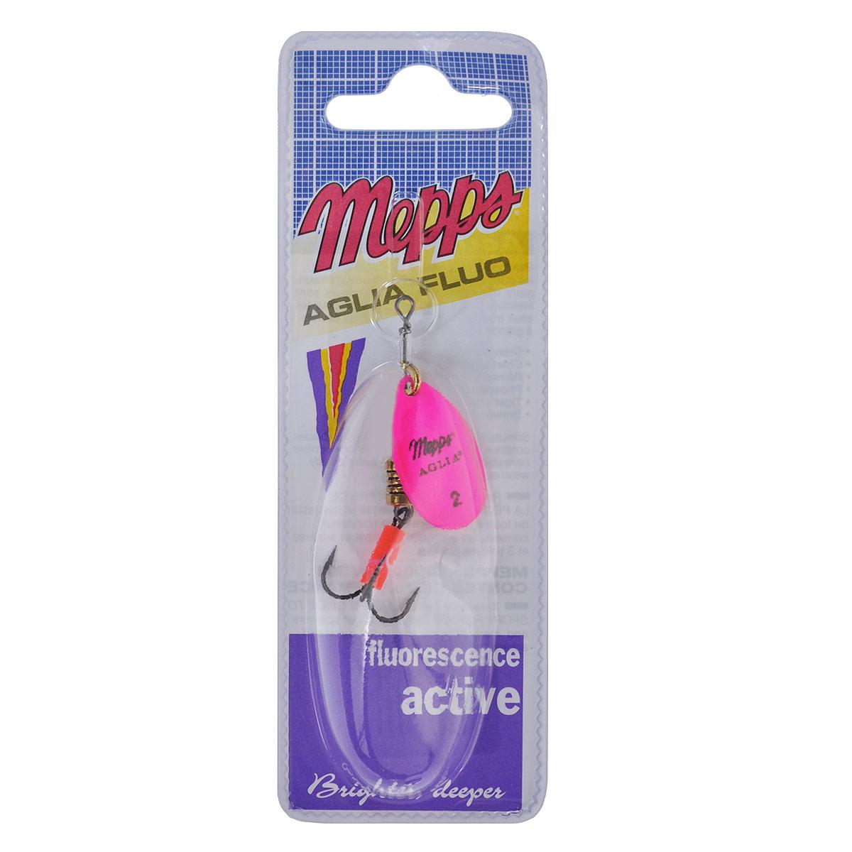 Блесна Mepps Aglia Fluo Rose, вращающаяся, №2010-01199-23Вращающаяся блесна Mepps Aglia Fluo Rose выполнена в виде лепестка розового матового окраса, дающего преимущество при ловле рыбы в темное время суток, на большой глубине и в мутной воде. Такая блесна отлично видна даже при освещении ультрафиолетовыми лучами, доходящими до самых больших глубин. Стимулированная ультрафиолетом, она продолжает еще долго светиться.