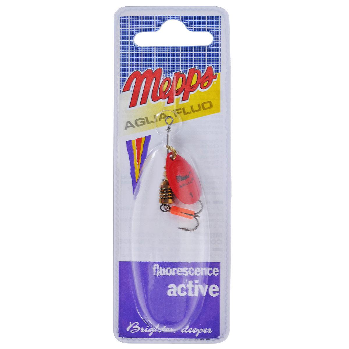 Блесна Mepps Aglia Fluo Rouge, вращающаяся, №1PGPS7797CIS08GBNVВращающаяся блесна Mepps Aglia Fluo Rouge выполнена в виде лепестка красного матового окраса, дающего преимущество при ловле рыбы в темное время суток, на большой глубине и в мутной воде. Такая блесна отлично видна даже при освещении ультрафиолетовыми лучами, доходящими до самых больших глубин. Стимулированная ультрафиолетом, она продолжает еще долго светиться.