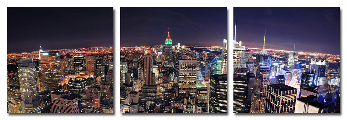 Канвас триптих Idea Ночной город, 150 х 50 см4607161057049Канвас - это ткань (полиэстер) с художественной фотопечатью, натянутая на деревянный каркас. Триптих включает три элемента, которые образуют единый рисунок. Такое изделие - оригинальный декоративный элемент, способный преобразить любой интерьер. Картина оформлена красочным изображением ночного города. С задней стороны имеются петельки для подвешивания к стене. Элементы следует размещать на стене, оставляя между ними небольшой промежуток.Стильный, современный дизайн, а также яркие и насыщенные цвета сделают эту картину прекрасным дополнением интерьера комнаты.