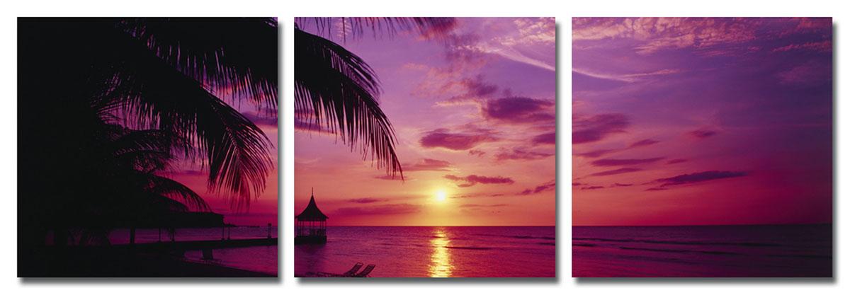 Канвас триптих Idea Восход на море, 150 см х 50 смAG 30-04Канвас - это ткань (полиэстер) с художественной фотопечатью, натянутая на деревянный каркас. Триптих включает три элемента, которые образуют единый рисунок. Такое изделие - оригинальный декоративный элемент, способный преобразить любой интерьер. Картина оформлена красочным изображением восхода на морском побережье. С задней стороны имеются петельки для подвешивания к стене. Элементы следует размещать на стене, оставляя между ними небольшой промежуток.Стильный, современный дизайн, а также яркие и насыщенные цвета сделают эту картину прекрасным дополнением интерьера комнаты.