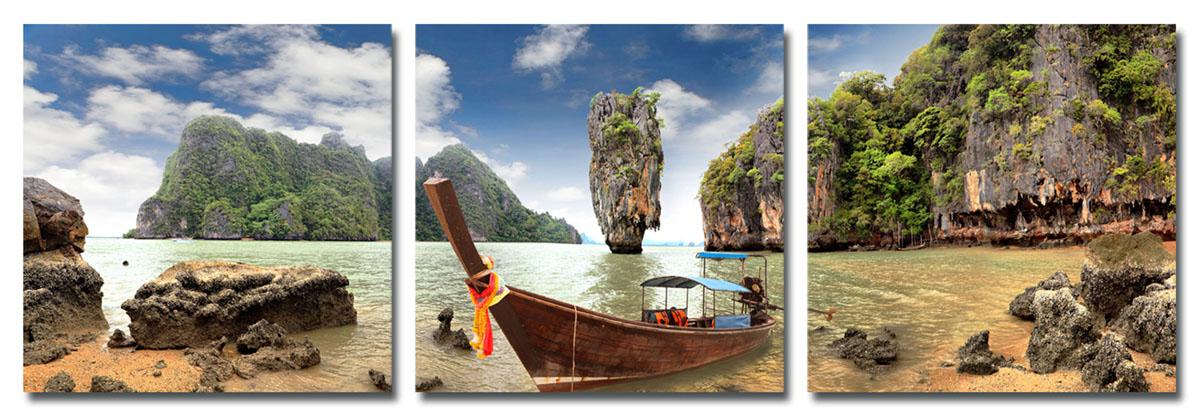 Канвас триптих Idea Тайланд, 150 см х 50 смRG-D31SКанвас - это ткань (полиэстер) с художественной фотопечатью, натянутая на деревянный каркас. Триптих включает три элемента, которые образуют единый рисунок. Такое изделие - оригинальный декоративный элемент, способный преобразить любой интерьер. Картина оформлена красочным изображением лодки у таиландского побережья. С задней стороны имеются петельки для подвешивания к стене. Элементы следует размещать на стене, оставляя между ними небольшой промежуток.Стильный, современный дизайн, а также яркие и насыщенные цвета сделают эту картину прекрасным дополнением интерьера комнаты.