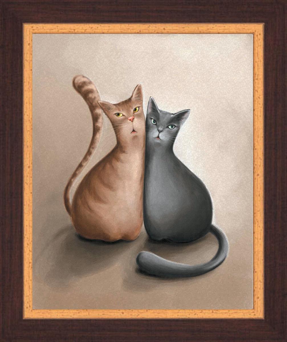Постер в раме Postermarket Два кота, 24 см х 30 смAL-022Картина для интерьера (постер) - современное и актуальное направление в дизайне любых помещений.Постер с красочным изображением двух котов оформлен в раму коричневого цвета, выполненную из пластика под дерево. Картина защищена прозрачным пластиком. С задней стороны имеется петелька для подвешивания к стене.Картина может использоваться для оформления любых интерьеров: - дом, квартира (гостиная, спальня, кухня, прихожая, детская); - офис (комната переговоров, холл, кабинет); - бар, кафе, ресторан или гостиница. Картины, предоставляемые компанией Постермаркет:- собраны вручную из лучших импортных комплектующих; - надежно упакованы в пленку с противоударными уголками.