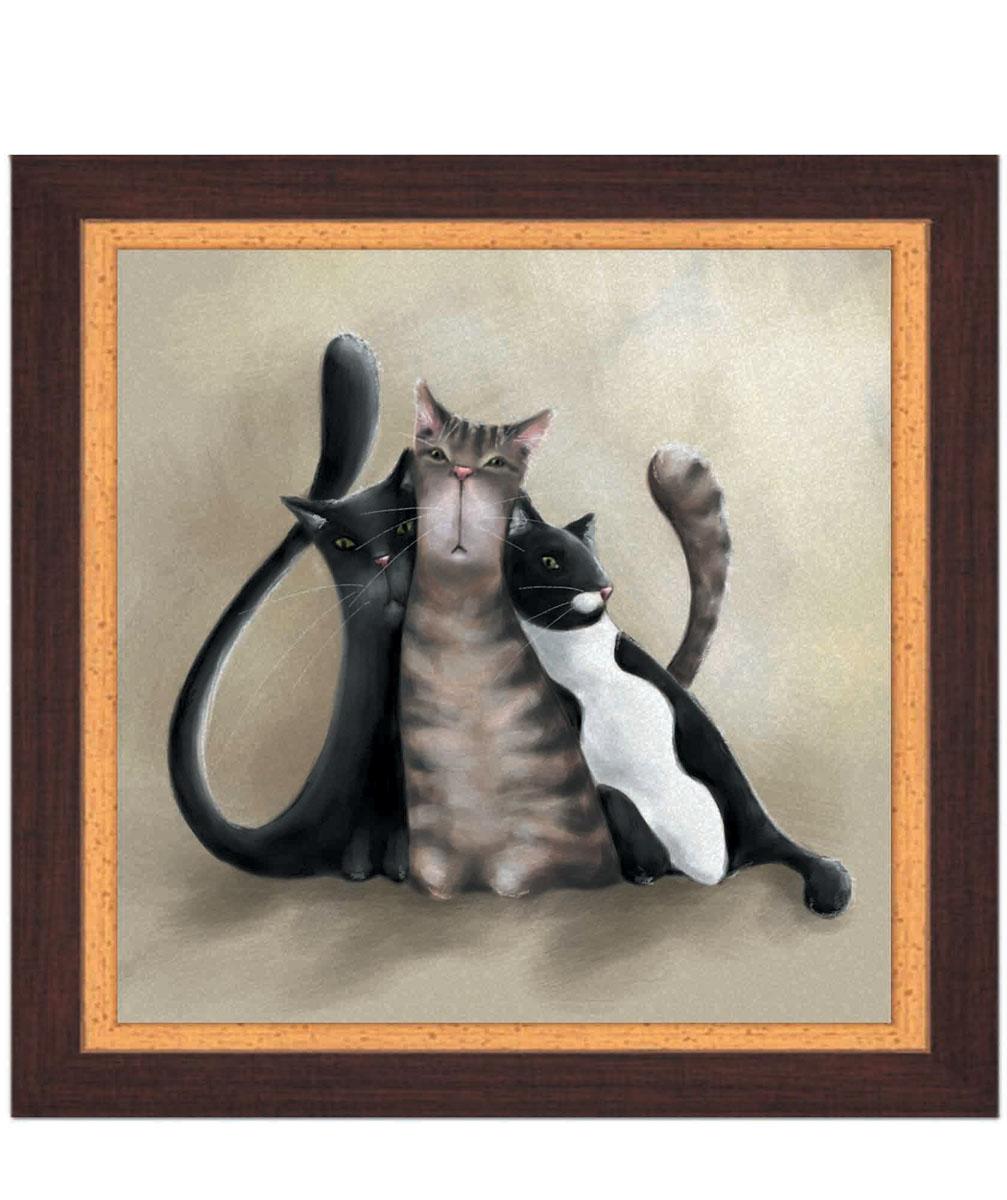 Постер в раме Postermarket Три кота, 30 х 30 смБрелок для сумкиКартина для интерьера (постер) - современное и актуальное направление в дизайне любых помещений.Постер с красочным изображением трех забавных котов оформлен в раму коричневого цвета, выполненную из пластика под дерево. Картина защищена прозрачным пластиком. С задней стороны имеется петелька для подвешивания к стене.Картина может использоваться для оформления любых интерьеров: - дом, квартира (гостиная, спальня, кухня, прихожая, детская); - офис (комната переговоров, холл, кабинет); - бар, кафе, ресторан или гостиница. Картины, предоставляемые компанией Постермаркет:- собраны вручную из лучших импортных комплектующих; - надежно упакованы в пленку с противоударными уголками.