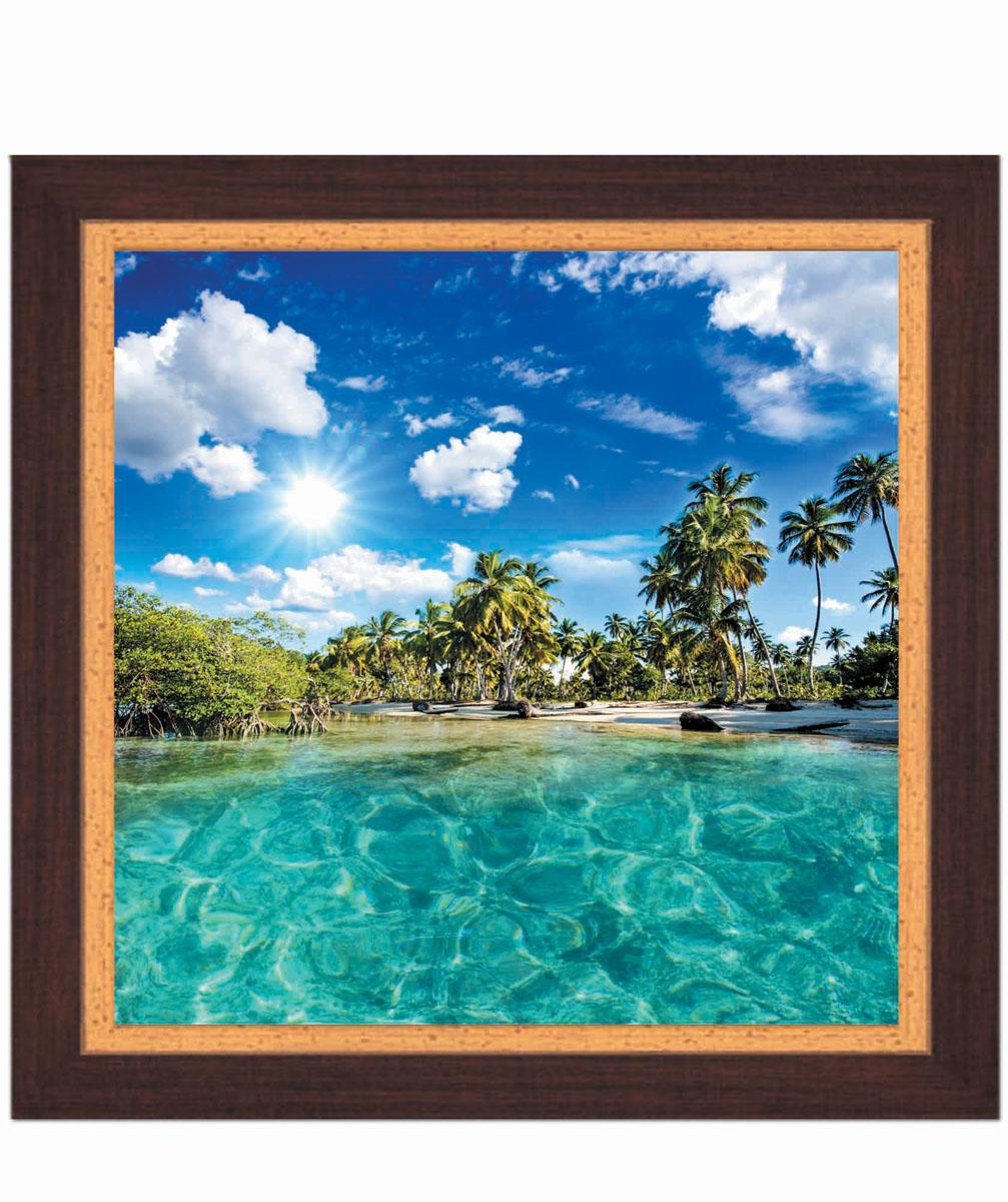 Постер в раме Postermarket Пляж, 30 см х 30 смRG-D31SКартина для интерьера (постер) - современное и актуальное направление в дизайне любых помещений.Постер с красочным изображением тропического пляжа оформлен в раму коричневого цвета, выполненную из пластика под дерево. Картина защищена прозрачным пластиком. С задней стороны имеется петелька для подвешивания к стене.Картина может использоваться для оформления любых интерьеров: - дом, квартира (гостиная, спальня, кухня, прихожая, детская); - офис (комната переговоров, холл, кабинет); - бар, кафе, ресторан или гостиница. Картины, предоставляемые компанией Постермаркет:- собраны вручную из лучших импортных комплектующих; - надежно упакованы в пленку с противоударными уголками.