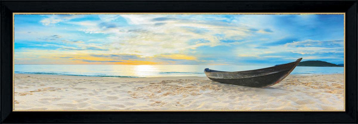 Постер в раме Postermarket Лодка на пляже, 95 см х 33 см4606400204268Картина для интерьера (постер) - современное и актуальное направление в дизайне любых помещений.Постер с красочным изображением лодки на пляже оформлен в раму черного цвета, выполненную из пластика. Картина защищена прозрачным пластиком. С задней стороны имеются петельки для подвешивания к стене.Картина может использоваться для оформления любых интерьеров: - дом, квартира (гостиная, спальня, кухня, прихожая, детская); - офис (комната переговоров, холл, кабинет); - бар, кафе, ресторан или гостиница. Картины, предоставляемые компанией Постермаркет:- собраны вручную из лучших импортных комплектующих; - надежно упакованы в пленку с противоударными уголками.