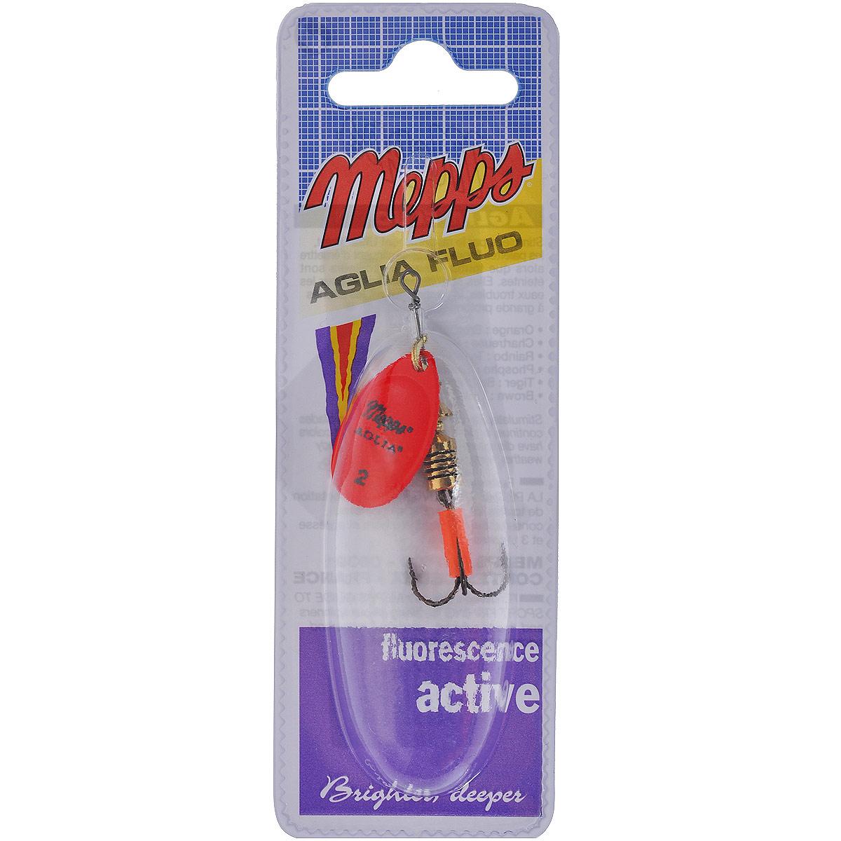 Блесна Mepps Aglia Fluo Rouge, вращающаяся, №235503Вращающаяся блесна Mepps Aglia Fluo Rouge выполнена в виде лепестка красного матового окраса, дающего преимущество при ловле рыбы в темное время суток, на большой глубине и в мутной воде. Такая блесна отлично видна даже при освещении ультрафиолетовыми лучами, доходящими до самых больших глубин. Стимулированная ультрафиолетом, она продолжает еще долго светиться.