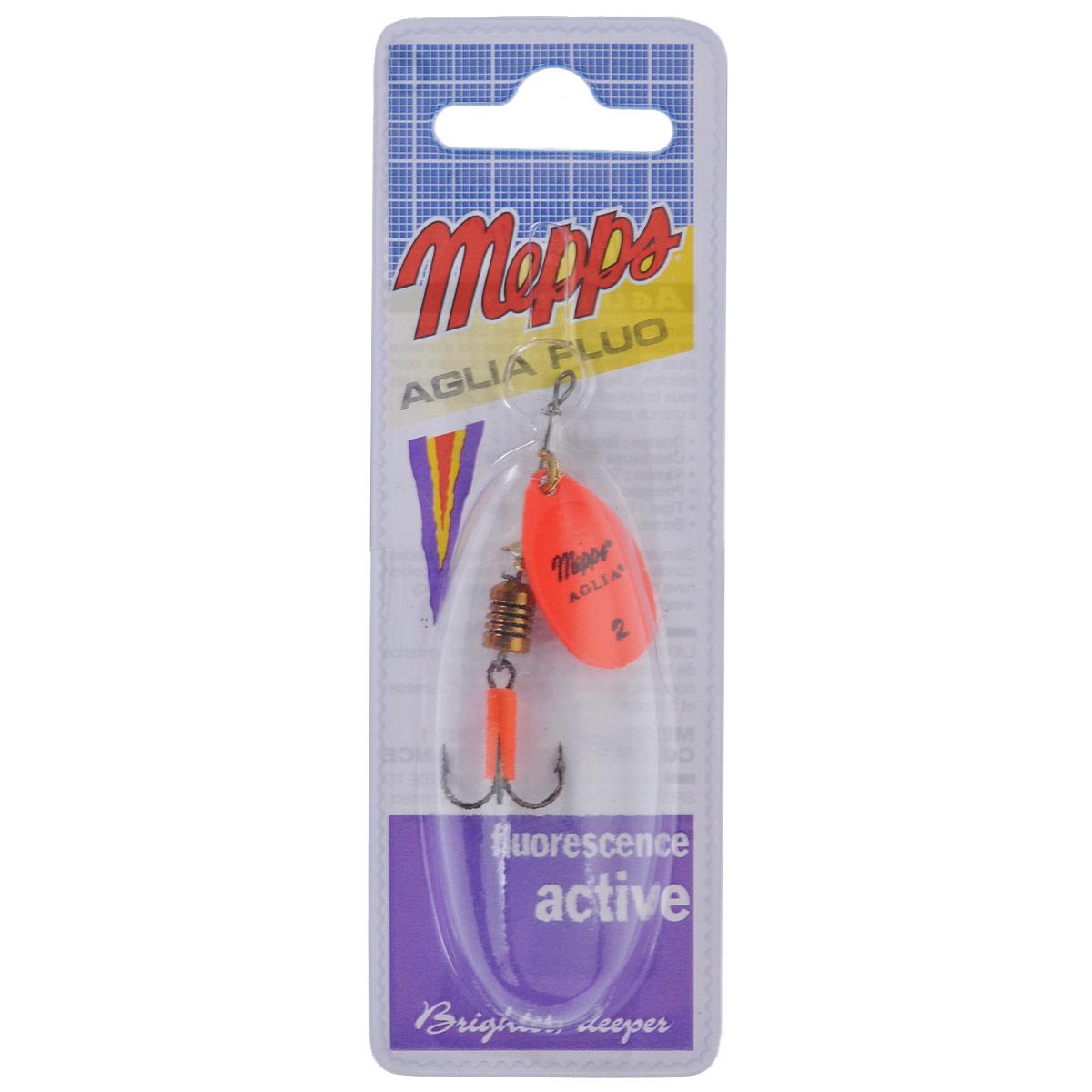Блесна Mepps Aglia Fluo Orange, вращающаяся, №2110F/007Вращающаяся блесна Mepps Aglia Fluo Orange выполнена в виде лепестка оранжевого неонового окраса, дающего преимущество при ловле рыбы в темное время суток, на большой глубине и в мутной воде. Такая блесна отлично видна даже при освещении ультрафиолетовыми лучами, доходящими до самых больших глубин. Стимулированная ультрафиолетом, она продолжает еще долго светиться.
