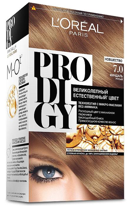LOreal Paris Краска для волос Prodigy без аммиака, оттенок 7.0, МиндальMP59.3DКраска для волос серии «Prodigy» совершила революционный прорыв в окрашивании волос. Новейшая технология состоит в использовании особых микромасел, которые, проникая в самый центр волоса, наполняют его насыщенным, совершенным свой чистотой цветом. Объемный цвет, полный переливов разнообразных оттенков достигается идеальной гармонией красящих пигментов. Кроме создания поразительного цвета микромасла также разглаживают поверхность волос, придавая тем самым ослепительный блеск. Равномерное окрашивание волос по всей длине, эффективное закрашивание седины и сохранение здоровой структуры волос — вот результат действия краски «Prodigy» без аммиака.В состав упаковки входит: красящий крем (60 г); проявляющая эмульсия (60 г); уход-усилитель блеска (60 мл);пара перчаток; инструкция по применению.