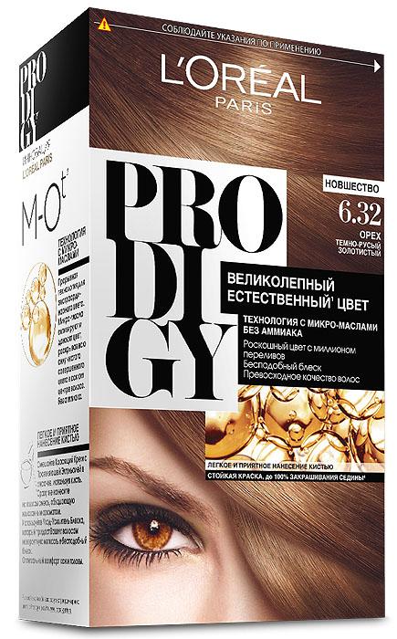 LOreal Paris Краска для волос Prodigy без аммиака, оттенок 6.32, Орех29005Краска для волос серии «Prodigy» совершила революционный прорыв в окрашивании волос. Новейшая технология состоит в использовании особых микромасел, которые, проникая в самый центр волоса, наполняют его насыщенным, совершенным свой чистотой цветом. Объемный цвет, полный переливов разнообразных оттенков достигается идеальной гармонией красящих пигментов. Кроме создания поразительного цвета микромасла также разглаживают поверхность волос, придавая тем самым ослепительный блеск. Равномерное окрашивание волос по всей длине, эффективное закрашивание седины и сохранение здоровой структуры волос — вот результат действия краски «Prodigy» без аммиака.В состав упаковки входит: красящий крем (60 г); проявляющая эмульсия (60 г); уход-усилитель блеска (60 мл);пара перчаток; инструкция по применению.
