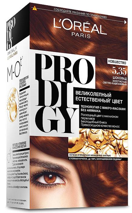 LOreal Paris Краска для волос Prodigy без аммиака, оттенок 5.35, ШоколадMP59.4DКраска для волос серии «Prodigy» совершила революционный прорыв в окрашивании волос. Новейшая технология состоит в использовании особых микромасел, которые, проникая в самый центр волоса, наполняют его насыщенным, совершенным свой чистотой цветом. Объемный цвет, полный переливов разнообразных оттенков достигается идеальной гармонией красящих пигментов. Кроме создания поразительного цвета микромасла также разглаживают поверхность волос, придавая тем самым ослепительный блеск. Равномерное окрашивание волос по всей длине, эффективное закрашивание седины и сохранение здоровой структуры волос — вот результат действия краски «Prodigy» без аммиака.В состав упаковки входит: красящий крем (60 г); проявляющая эмульсия (60 г); уход-усилитель блеска (60 мл);пара перчаток; инструкция по применению.