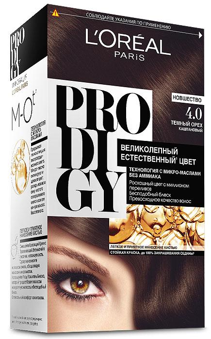 LOreal Paris Краска для волос Prodigy без аммиака, оттенок 4.0, Темный ОрехCF5512F4Краска для волос серии «Prodigy» совершила революционный прорыв в окрашивании волос. Новейшая технология состоит в использовании особых микромасел, которые, проникая в самый центр волоса, наполняют его насыщенным, совершенным свой чистотой цветом. Объемный цвет, полный переливов разнообразных оттенков достигается идеальной гармонией красящих пигментов. Кроме создания поразительного цвета микромасла также разглаживают поверхность волос, придавая тем самым ослепительный блеск. Равномерное окрашивание волос по всей длине, эффективное закрашивание седины и сохранение здоровой структуры волос — вот результат действия краски «Prodigy» без аммиака.В состав упаковки входит: красящий крем (60 г); проявляющая эмульсия (60 г); уход-усилитель блеска (60 мл);пара перчаток; инструкция по применению.