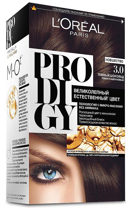 LOreal Paris Краска для волос Prodigy без аммиака, оттенок 3.0, Темный ШоколадSatin Hair 7 BR730MNКраска для волос серии «Prodigy» совершила революционный прорыв в окрашивании волос. Новейшая технология состоит в использовании особых микромасел, которые, проникая в самый центр волоса, наполняют его насыщенным, совершенным свой чистотой цветом. Объемный цвет, полный переливов разнообразных оттенков достигается идеальной гармонией красящих пигментов. Кроме создания поразительного цвета микромасла также разглаживают поверхность волос, придавая тем самым ослепительный блеск. Равномерное окрашивание волос по всей длине, эффективное закрашивание седины и сохранение здоровой структуры волос — вот результат действия краски «Prodigy» без аммиака.В состав упаковки входит: красящий крем (60 г); проявляющая эмульсия (60 г); уход-усилитель блеска (60 мл);пара перчаток; инструкция по применению.