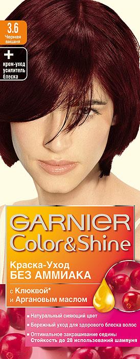 Garnier Краска-уход для волос Color&Shine без аммиака, оттенок 3.6, Черная вишняC4532210Garnier Color&Shineкраска-уход, без аммиака, которая не только бережно ухаживает за волосами, делая их мягкими, но и оптимально закрашивает седину. Она обогащена экстрактом клюквы, признанным антиоксидантом, который продлевает сияние цвета Ваших волос надолго. Благодаря питательным свойствам арганового масла Ваши волосы защищены от сухости, а блеск максимально усилен. Ваши волосы несравненно мягкие, цвет сияющий,стойкий в течение 28 использований шампуня. Узнай больше об окрашивании на http://coloracademy.ru/.В упаковки содержится: флакон с молочком-проявителем (60 мл); тюбик с крем-краской (40 мл); крем-уход усилитель блеска после окрашивания; инструкция; пара перчаток.