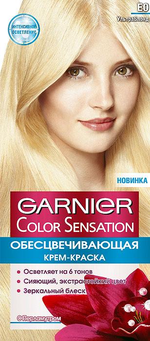 Garnier Стойкая крем-краска для волос Color Sensation, Роскошь цвета, оттенок E0, Ультра блонд9353220Стойкая крем - краска c перламутром и цветочным маслом. Выразительный экстрастойкий цвет. Точное попадание в цвет. Зеркальный блеск. 100% закрашивание седины. Узнай больше об окрашивании на http://coloracademy.ru/В состав упаковки входит: флакон с молочком-проявителем (60 мл); тюбик с крем-краской (40 мл); крем-уход после окрашивания (10 мл); инструкция; пара перчаток.