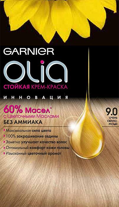 Garnier Стойкая крем-краска для волос Olia без аммиака, оттенок 9.0, Очень светло-русыйC4683501Garnier Olia - первая стойкая крем-краска без аммиака c цветочным маслом. Olia обеспечивает максимальную силу цвета и заметно улучшает качество волос. Обеспечивает уникальное чувственное нанесение, оптимальный комфорт кожи головы и обладает изысканным цветочным ароматом. Узнай больше об окрашивании на http://coloracademy.ru//В состав упаковки входит: тюбик с молочком-проявителем; тюбик с крем-краской; флакон с бальзамом-уходом для волос Шелк и Блеск;инструкция; пара перчаток .